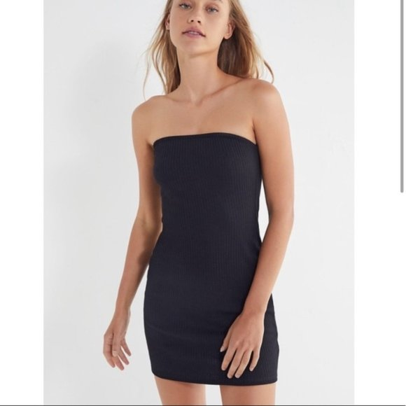 Urban Outfitters Black Ripped Knit Tube Dress Med